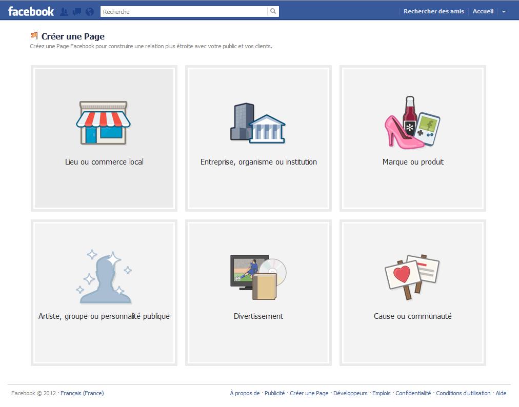 Le type d'organisation que va représenter votre page facebook