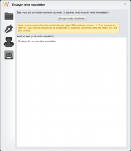 Interface d'envoi de la newsletter